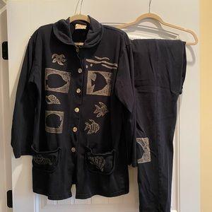 2 piece cotton women's Medium pant and jacket.
